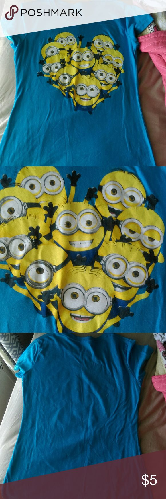 Blue minions shirt A a cute minion shirt the minions are in the shape of a heart 60%cotton 40% Polyester Tops Tees - Short Sleeve