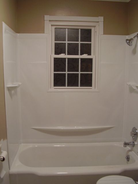 New tub surround and window trim my dh and i finally got for Bathroom upgrade ideas