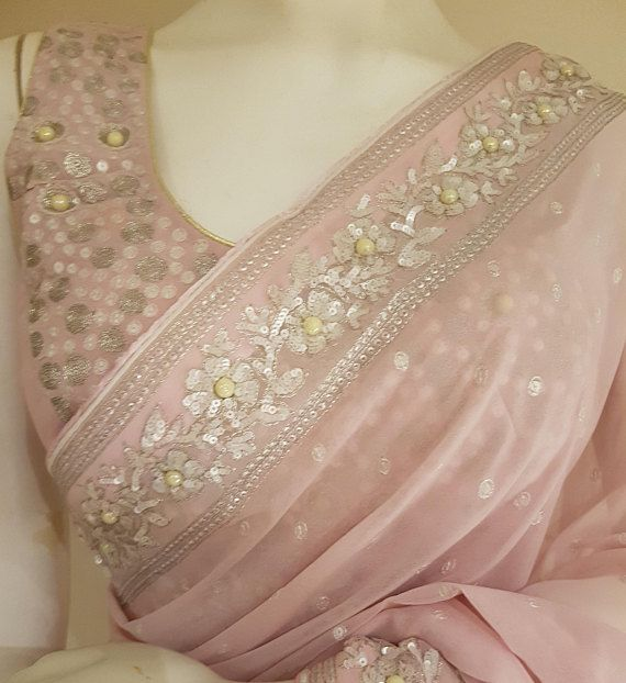 Baby pink Georgette saree with pearl work #afflink #saree #ethnic #georgette