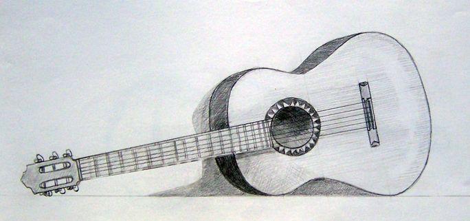 Easy Pencil Drawings Of Guitar