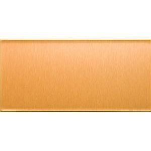 """Acoustic Ceiling Produc A51-52 Aspect Peel-n-stick Tiles 3x6 - Short Grain Copper by Aspect. $23.83. """"ASPECT"""" PEEL-N-STICK TILES  Copper.  Short grain.  Size: 3"""" x 6""""  A do-it-yourself cost- effective way to dramatically change your kitchen backsplash.  Radiant brushed metal at a fraction of the cost.  Eliminates grout.  Available in stainless steel, champagne and copper (long and short grain)  8 tiles per carton."""