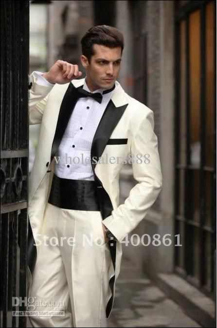 Wholesale cheap men suits online, man suit - Find best morning style ivory groom tuxedos best man peak black satin lapel groomsmen men wedding suits bridegroom (Jacket+Pants+Tie+Girdle) h669 at discount prices from Chinese suits & blazers supplier on DHgate.com.