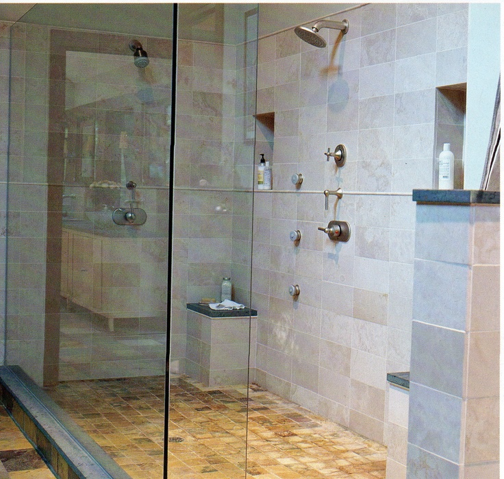 lovely large tiled shower with double shower heads and benches - Fantastisch Bing Steam Shower
