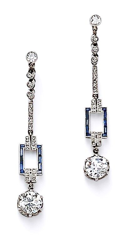 Art Deco Platinum and Diamond Earpendants, each with a transitional-cut diamond drop weighing approx. 0.60 cts., and suspended from full-, single-, and rose-cut diamonds, blue stone accents, lg. 1 5/8 in.
