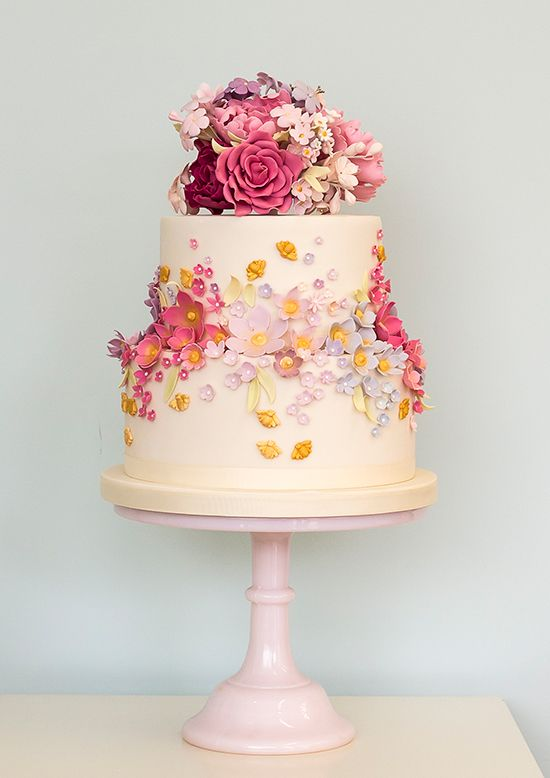 floral wedding cake  ~  we ❤ this! moncheribridals.com #weddingcake