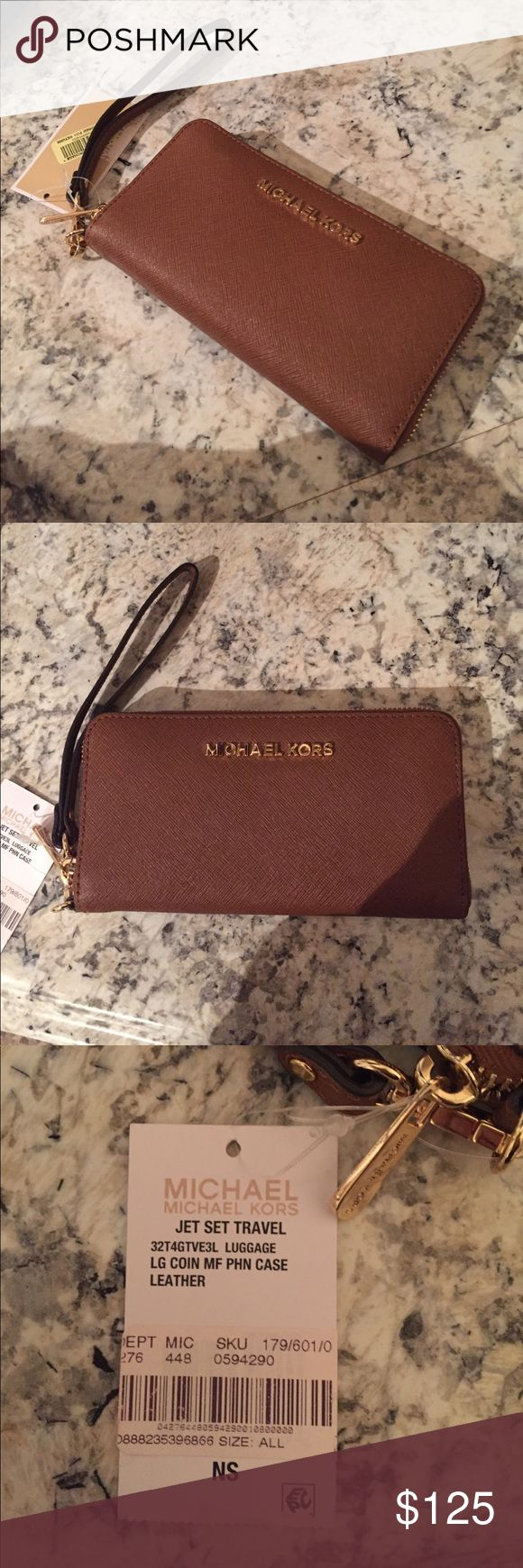 NWT Michael Kors Wristlet NWT never used Michael Kors wristlet. Part of the Jet Set Travel collection. Spaces for cards, coins, cash, etc. Color: Acorn. Gold zipper. No flaws or stains. Bags Clutches & Wristlets