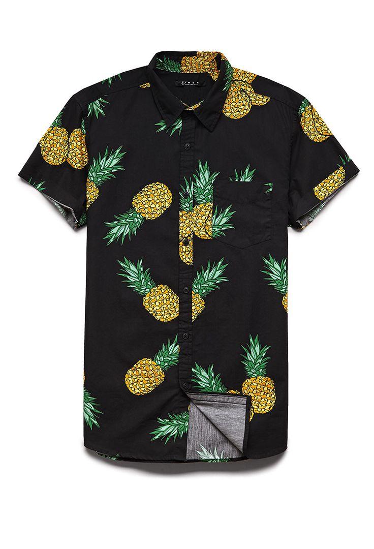 Pineapple Print Cotton Shirt   21 MEN #F21Spring #21Men
