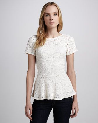 Ruthie Lace Peplum Top by Velvet at Neiman Marcus. $99