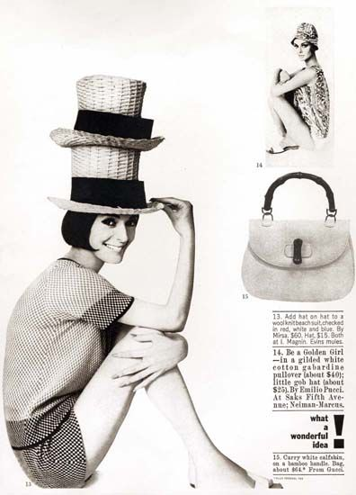 From the Archive: Harper's Bazaar spread featuring an early version of the Gucci Bamboo Bag, 1970s