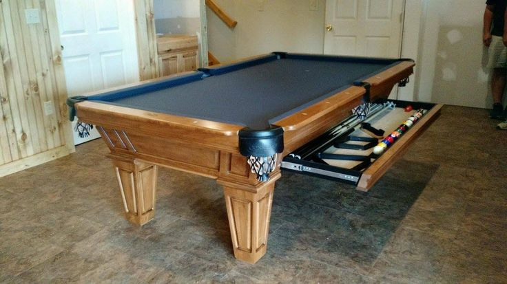 Connelly Cochise pool table highlighting the accessory drawer option, shown in Late Harvest on Maple. Accessory drawers are an option on many Connelly models. The Cochise and all other Connelly pool tables are available at Maine Home Recreation.