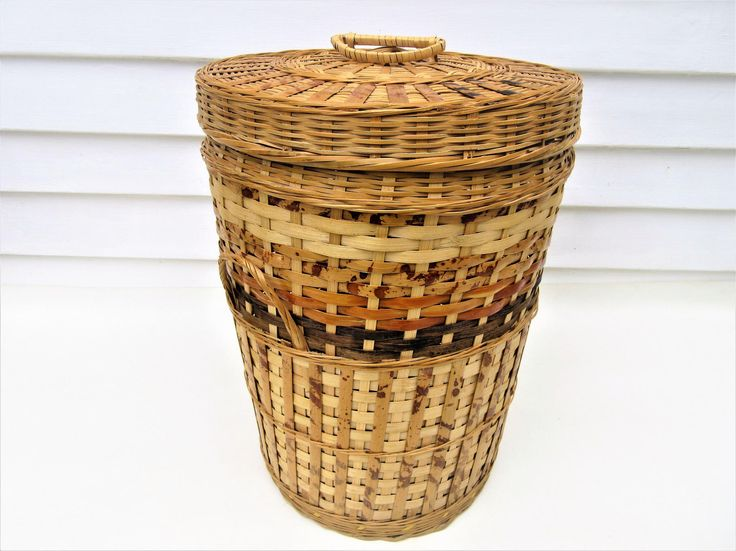 Vintage Wicker Basket with Lid | Wicker Basket with Handles | Rattan Storage Basket | Bohemian Basket by WhimzyThyme on Etsy