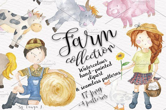 Farm Animals & Kids Collection  by Tanya Kart on @creativemarket