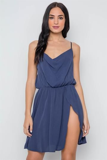 a83603e397dc Navy Solid Cami Cowl Neck Side Slit Mini Dress