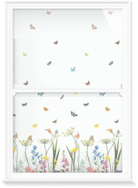 Butterflies and summer flowers in a repeat design for Ella Doran's 'Flowers' collection.. Our made-to-measure window film designs have been specifically created for glazing.