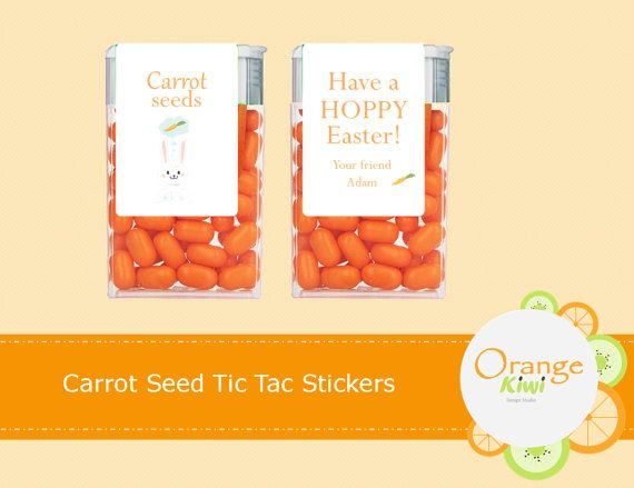 Carrot Seeds Easter Tic Tac Stickers Party Favor Tic Tac