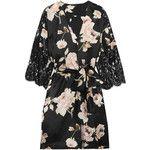 Rosamosario La Donna del Fioraio lace-paneled floral-print silk-satin robe