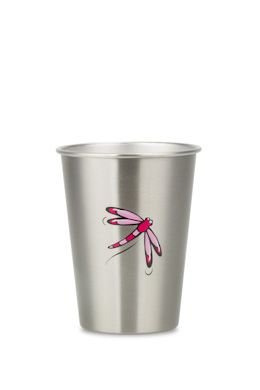 NEW DRAGONFLY cup from ecococoon. 350ml illustrated stainless steel cup RRP $10.95