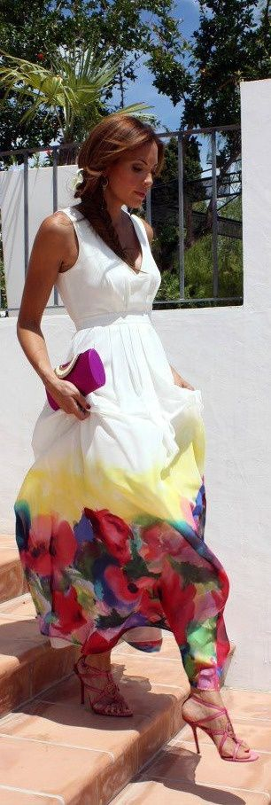 style outfit apparel fashion clothing women colorful white maxi long summer dress purse pink awesome