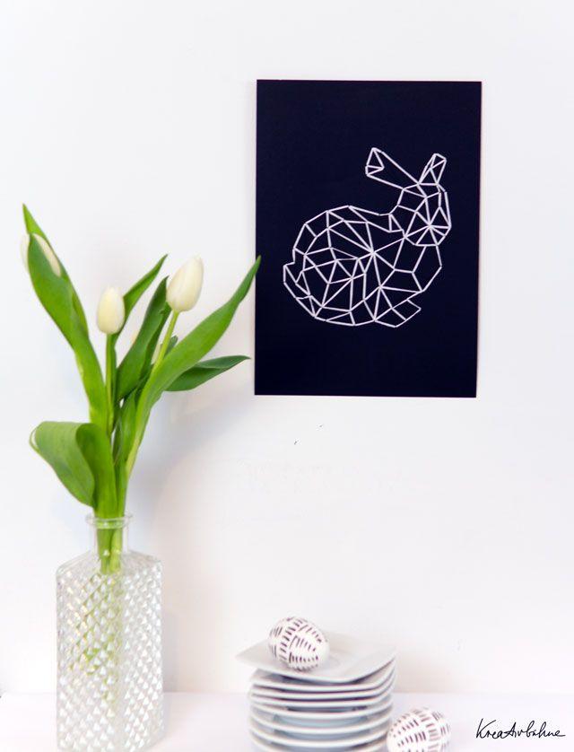 #Osterdeko basteln mit Garn und Papier - so entsteht ein Polygon-Osterhase - mit Vorlage zum Download