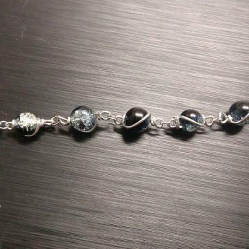 Handgemaakt - Glaskralen - armband - Wire wrapping - €20,-
