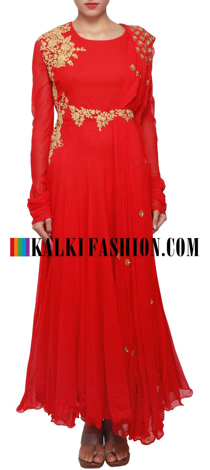Buy Online from the link below. We ship worldwide (Free Shipping over US$100) http://www.kalkifashion.com/red-anarkali-suit-embellished-in-embossed-zari-work-only-on-kalki.html