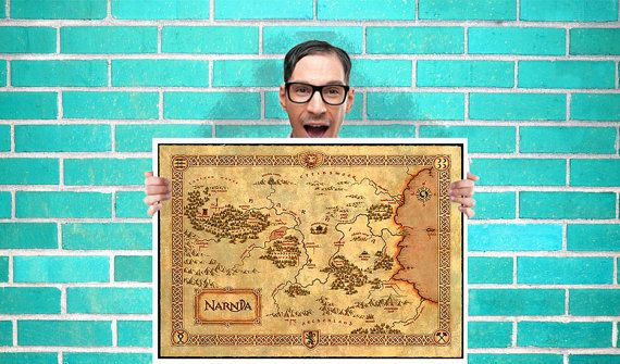 Narnia Map Lion witch and the wardrobe Art Wall by geeksleeksheek, $18.00