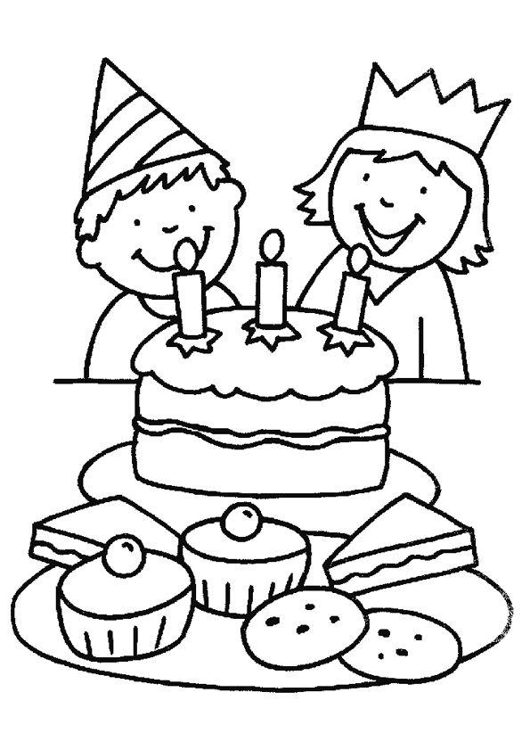 Des enfants qui veulent souffler les bougies,  à colorier