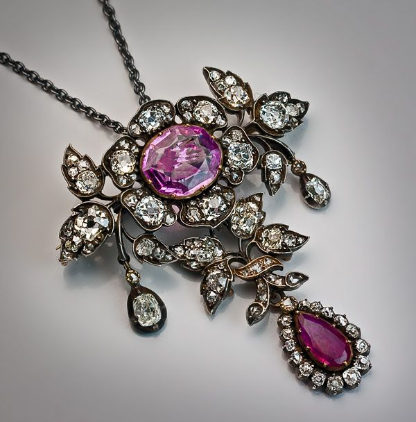 19th Century Diamond Ruby Sapphire Pendant Necklace - Antique Jewelry | Vintage Rings | Faberge Eggs