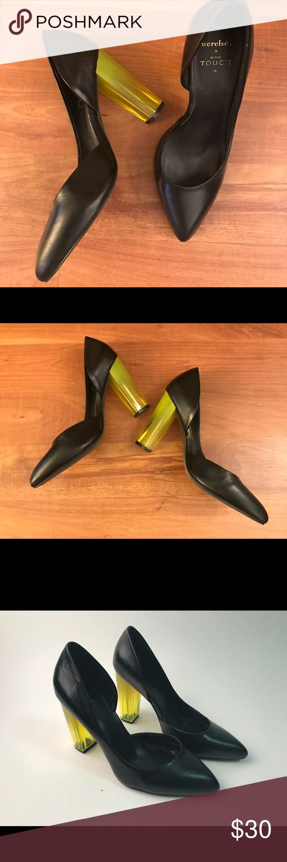 Black pumps with yellow heels Limited edition pumps from Mango x Touch. Used twice. Like new! Mango Shoes Heels
