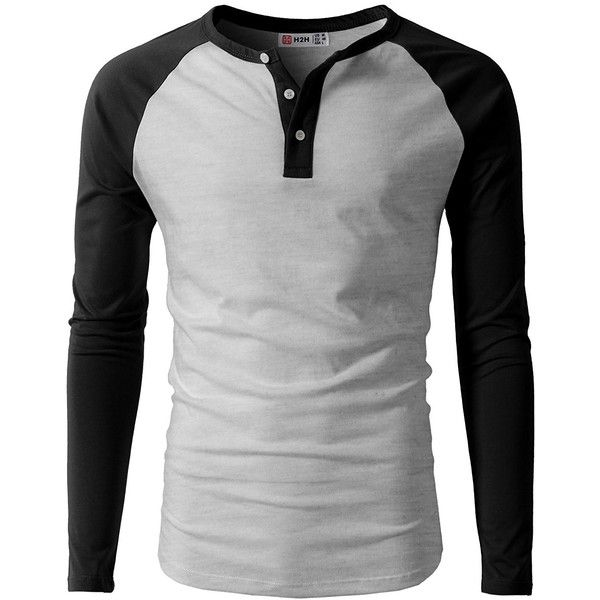 H2H Mens Casual Slim Fit Raglan Baseball Three-Quarter Sleeve Henley...  ($11) via Polyvore featuring men's fashion, men's clothing, men's shirts,  ...