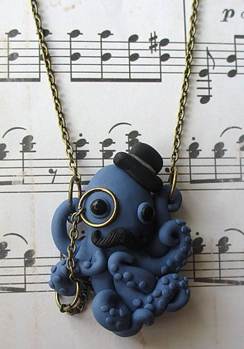 Dapper Octopus Necklace, Cameo Necklace, Skull Cameos, Gothic Necklaces, Horror Necklaces, Psychobilly Necklaces, Goth Necklaces, Ribcage Necklaces, Punk Rock Neclaces, Punk Necklaces Jewelry