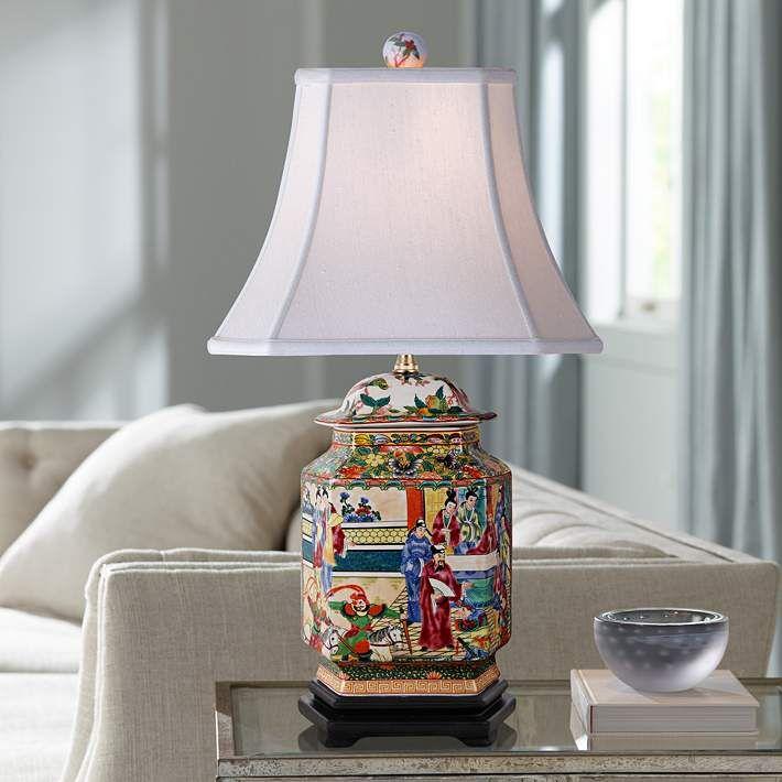 Rose Canton Multi Color Flat Jar Porcelain Table Lamp 9m005 Lamps Plus In 2021 Table Lamp Lamp Jar Table Lamp