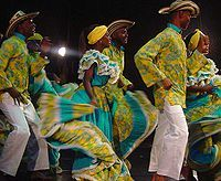 """""""Fiesta in Palenque"""" traditional African Colombian dance from San Basilio de Palenque a former enclave of escaped slaves now considered by the UNESCO a Masterpieces of the Oral and Intangible Heritage of Humanity."""
