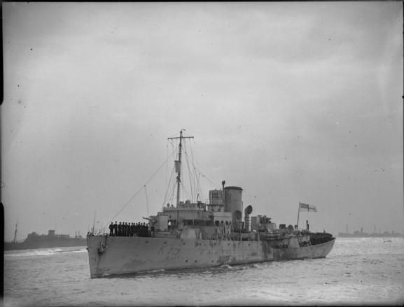 HMS Celandine(K75) Flower Class Corvette  shown arriving at Algiers as part of the escort for a troop convoy. Built by Grangemouth Dry Dock co and commissioned on 30/04/41, she depth charged and sank the German submarine U-556 on 27/06/41. Sold to J.Lee for scrapping at Portaferry in October '48.