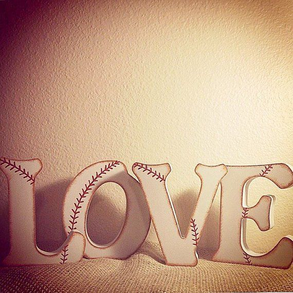 LOVE Baseball Wedding Letters - Free Standing Letters - Baseball Wedding - Baseball Party- Vintage Baseball - Wedding Guest Book Alternative