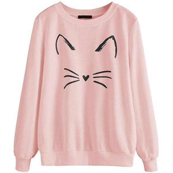 Romwe Women's Cat Print Sweatshirt Long Sleeve Loose Pullover Shirt ($15) ❤ liked on Polyvore featuring tops, hoodies, sweatshirts, hooded sweatshirt, hooded pullover sweatshirt, loose long sleeve shirts, hoodie shirt and cat hoodie