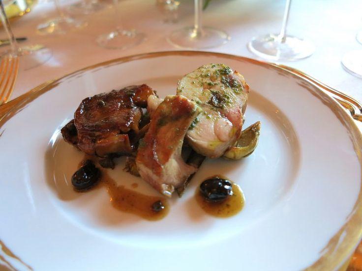 Alain  Ducasse  Coniglio  carciofi olive  nere e   succo  di vitello
