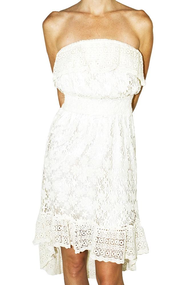 Meghan Los Angeles. Cotton Lace Strapless Dress ~ great vacation dress!: Lace Strapless, Vacation Dresses, Strapless Dresses, Dresses Fetish, Vacations Wear, The Angel, Beautiful, Vacations Dresses, Cotton Lace