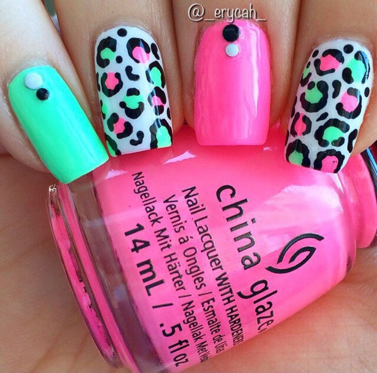 Neon Leopard Nails China Glaze - Highlight Of My Summer & Bottoms Up