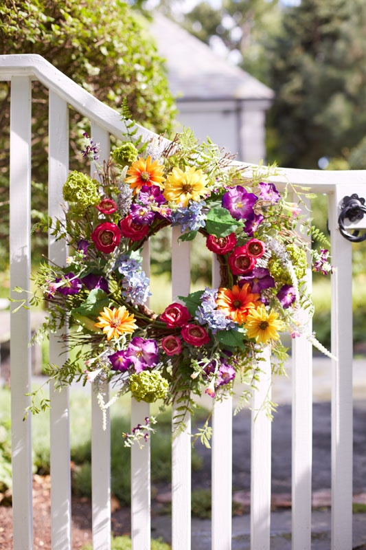 Wispy and colorful wild flower wreath