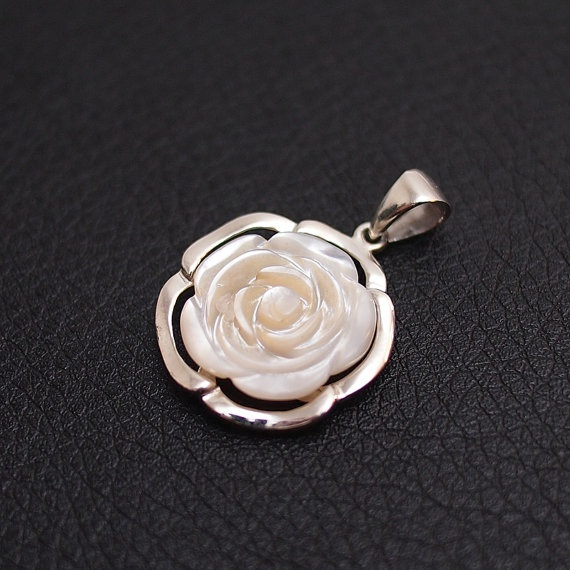 Rose Mother of Pearl Pendant  Sterling Silver by BlackPearlRain, $24.95