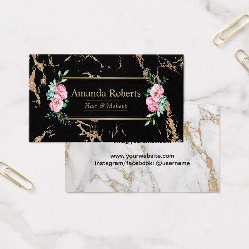 Makeup Artist Hair Salon Floral Trendy Marble Business Card