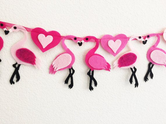 Flamingo garland Flamingo Banner Flamingo Felt by TheLilFeltShoppe