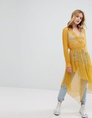 Bershka Dobby Mesh Maxi Dress