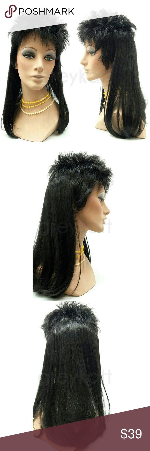 "Black mullet wig Black mullet hair style. Short on top, long and straight in the back. Made from synthetic fibers. *Not heat-resistant, do not use heating tools.  Color: Black Length: 17"" inches Circumference: Default at 21"" Materials: Synthetic wig fiber  Wig prices are firm. Accessories Hair Accessories"