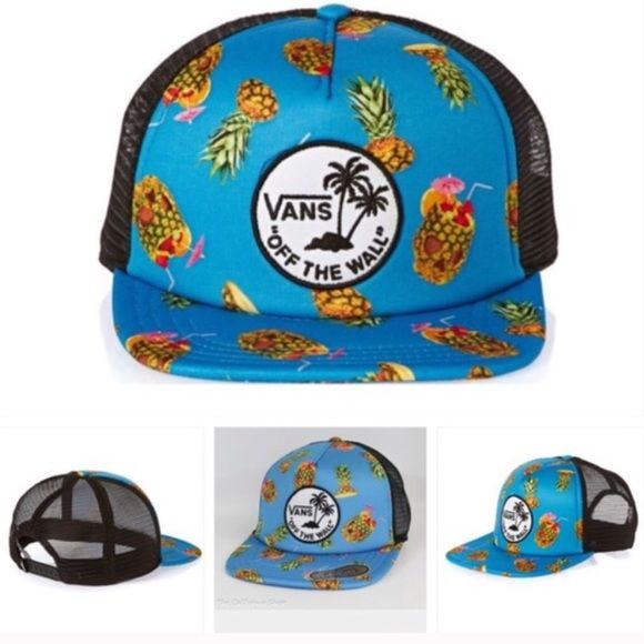 Vans Dazed And Confuse Trucker Hat Blue Vans Dazed And Confuse Trucker Hat Blue Material: Shell: 100% Polyester Lining: 100% Polyester - Classic trucker design - Round VANS Off The Wall surf patch on foam front panel - Mesh backing for added breathability - All over pineapple fruit punch design - Adjustable snapback for customized fit - VANS logo loop on snapback - One Size Fits Most Vans Accessories Hats