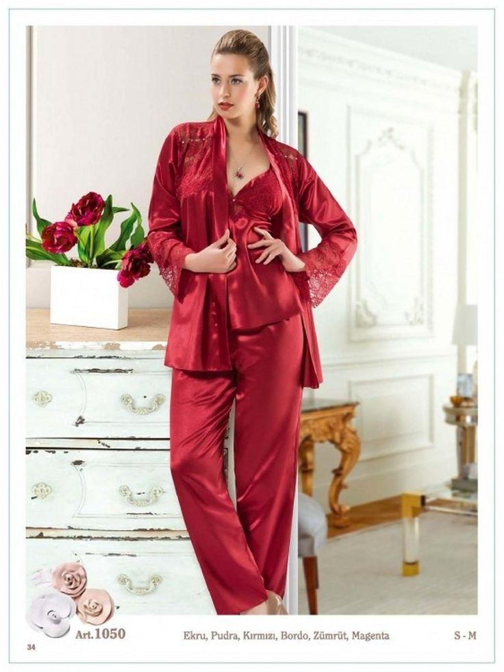 3 Parça Saten Pijama Takımı 1050