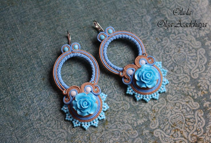 "Collection ""Jeans"" Earrings ""Blue Rose"" soutache, acrylic elements, white agate, glass beads, Japanese beads"