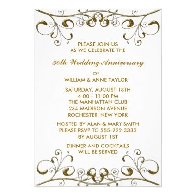 9 best 25th \ 50th Wedding Anniversary Invitations Templates - dinner invite templates
