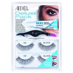 Everything you need for gorgeous lashes. Ardell Deluxe Pack 105 Lash Kit with the World's #1 Lash Adhesive and World's Best Selling Lashes available together! The Deluxe Pack features professional quality twin set of glamorous Ardell 105 Lashes, DUO adhesive and new soft-touch lash applicator.